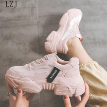 Baskets femmes 2019 mode femmes plate-forme chaussures à lacets rose vulcaniser chaussures femmes baskets papa chaussures