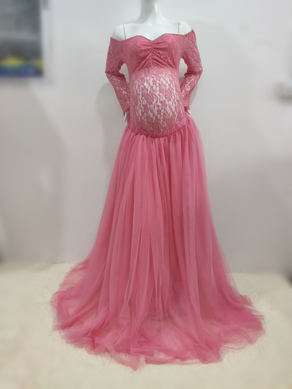 Sexy Lace Maternity Photography Props Long Dress Baby Shower Fancy Pregnancy Dress Photo Shoot For Pregnant Women Mesh Maxi Gown (7)