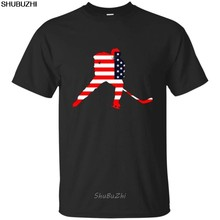 T Shirt Design männer Crew Neck Usa Eis Hockeyer T Shirt Player Liebe Amerikanischen Team Stick Puck Kurze Geschenk shirts sbz3519(China)