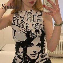 Spifore Tie Dye Tank Top Summer Women 2021 Fashion Portrait Print Tops Y2K Sexy Crop Streetwear Sleeveless Graphic T Shirts
