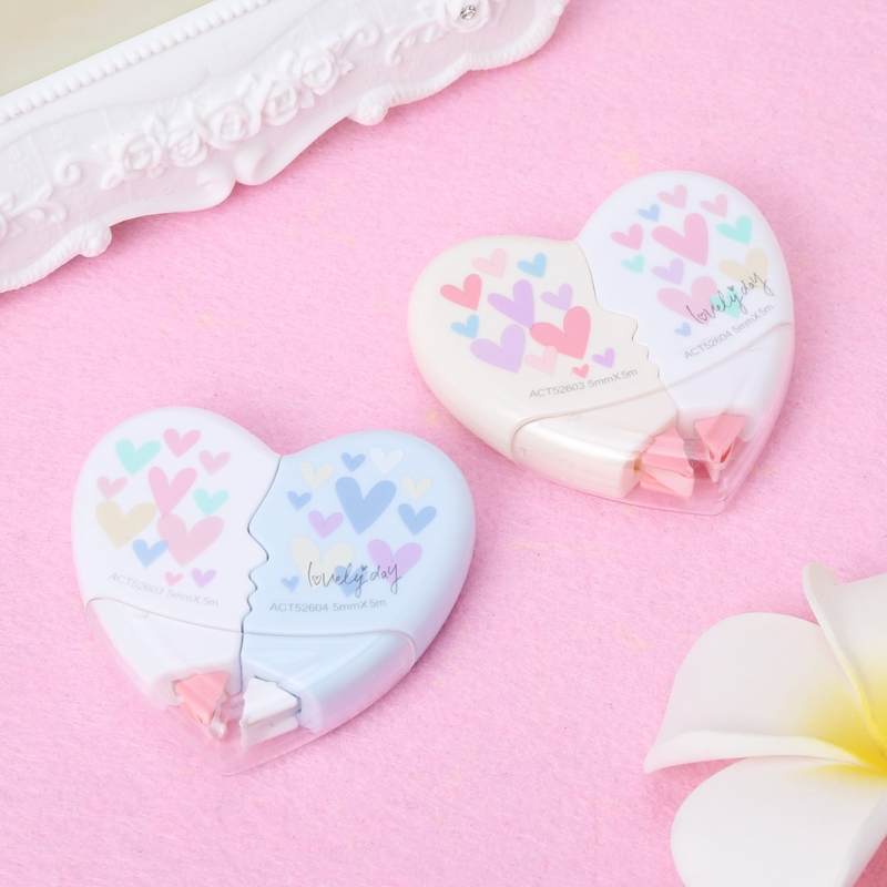 Love Heart Correction Tape Kawaii Student Stationery Office School Supplies 10M L41E