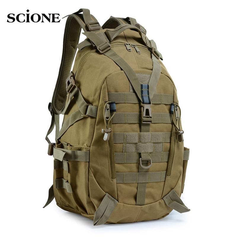 40L กระเป๋าเป้สะพายหลังทหารกระเป๋าเดินทางกระเป๋ายุทธวิธีกองทัพ MOLLE Rucksack ปีนเขาเดินป่ากลางแจ้ง...
