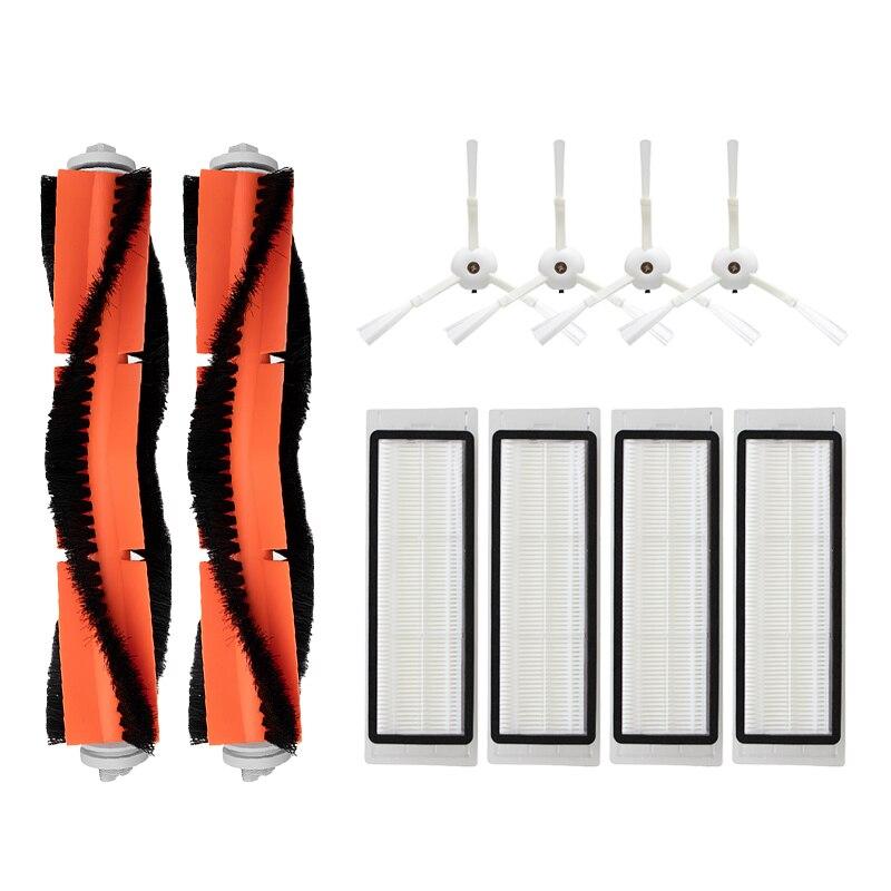 4 escova lateral + 4 filtro hepa 2 rolo escova para xiaomi mi robô 1/2 geração s50 aspirador de pó acessórios peças