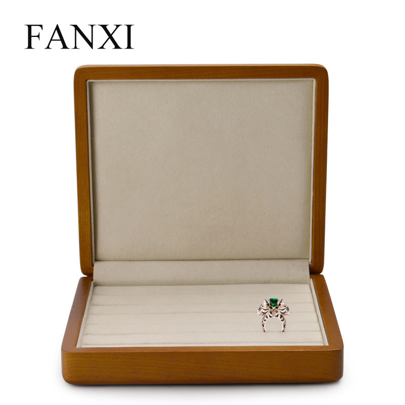 FANXI Solid Wooden Jewelry Display Box Ring Display Holder with Microfiber Jewelry Box Stand for jewelry Organizer title=