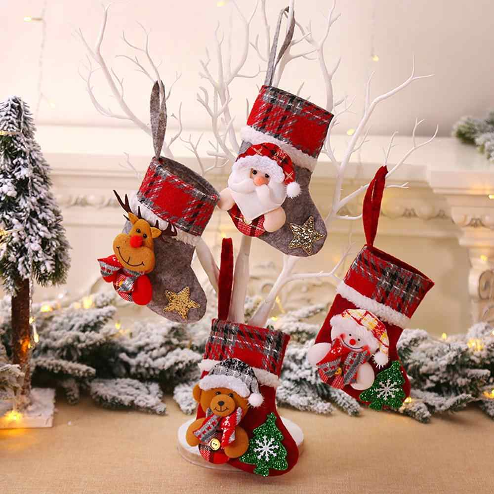 Ornament Decoration Party Holiday Christmas Xmas Tree Hanging Party Tree Decor Santa Stocking Sock Gift Candy Bags#50