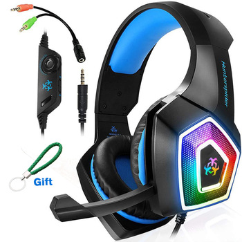Gaming Headset Gaming Headphones Stereo Over Ear Headset Bass 3.5mm Microphone Noise Canceling 7 LED Light for Xbox One PS4 PC