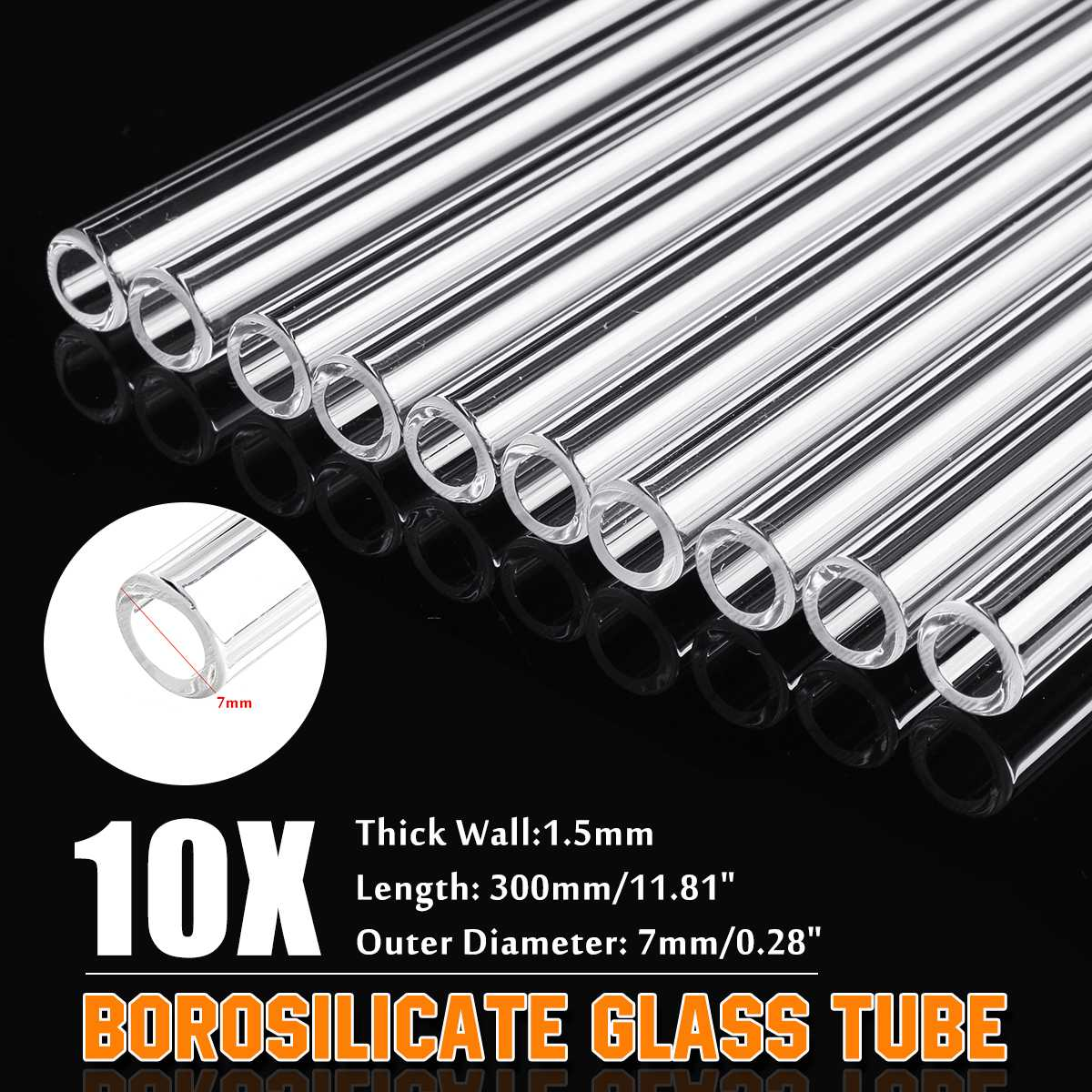 Lab Glass Blowing Tube 10Pcs 300mm OD 7mm 1.5mm Wall Borosilicate Glass Blowing Tube Lab Tubing School Factory Laboratory