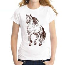 Женская футболка с принтом лошадей Повседневная Свободная круглым