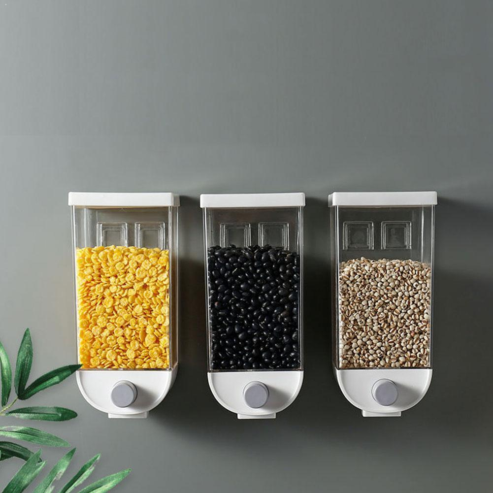 1000ml/1500ml Oatmeal Dispenser Grain Storage Box Wall-mounted Grain Storage Container Cereal Tank Gadgets Kitchen H7K1
