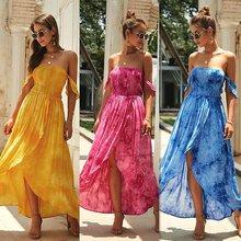 цены на Gradient Tube Top Dress Female High Waist Strapless Slit Design Personality Sexy Suitable For Holiday Tie Dyed Yellow Red Blue в интернет-магазинах