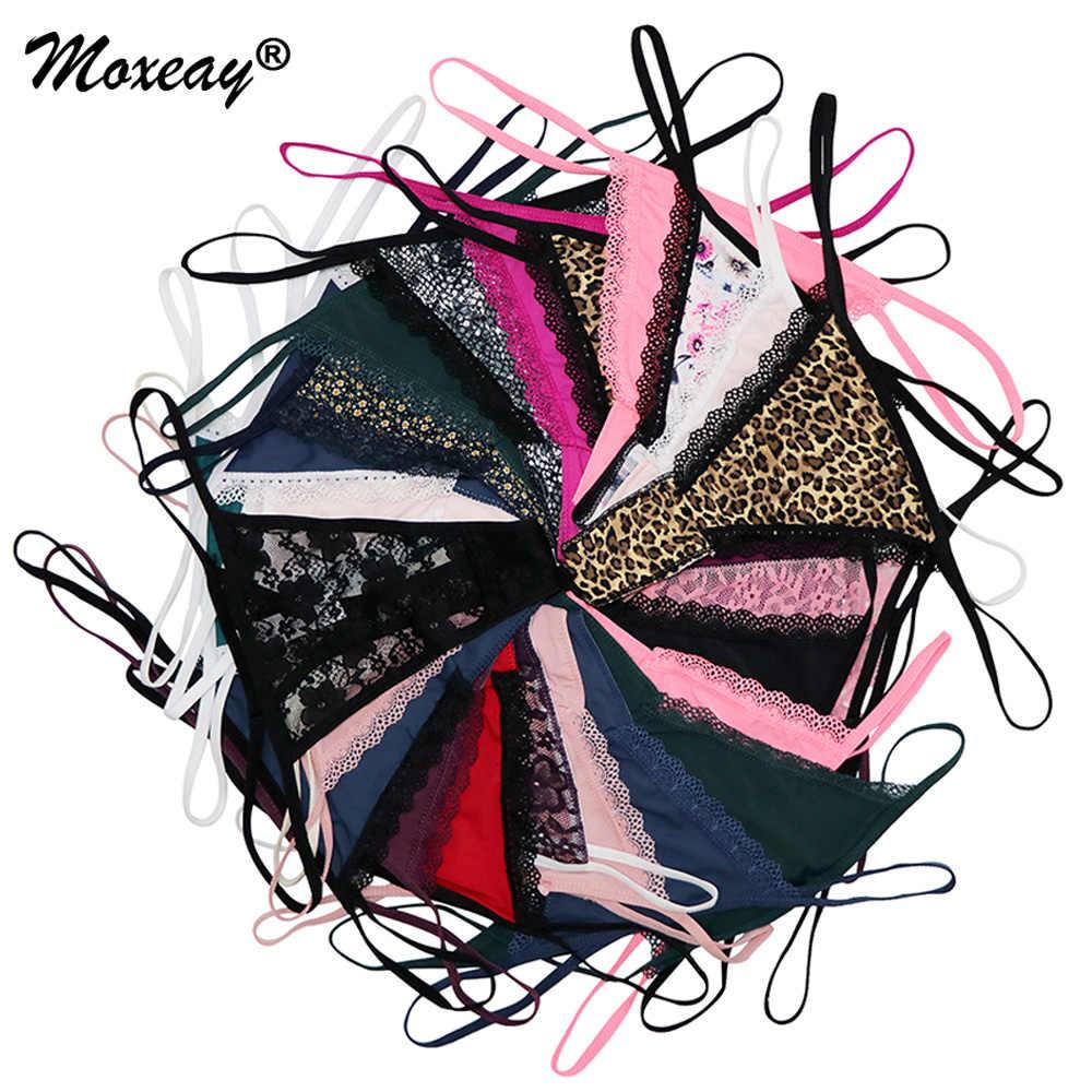 Moxeay 10 X Vòng Gợi Cảm Thông Quần Lót Cotton G Dây Thun Lưng Họa Tiết Quần Thông Ngắn Gọn Quần Lót quần Lót Ren Sheer