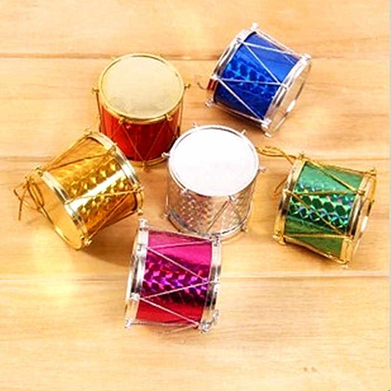 12 Pcs/Tas Laser Drum Kecil Ornamen Natal Kotak Warna-warni Pohon Natal Liontin Tahun Baru Ornamen Dekorasi