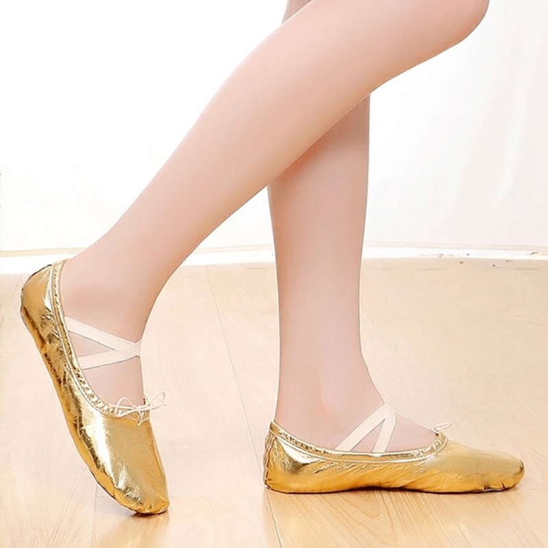 USHINE New Professional PU Gold Silver Shaping Body Yoga Workout Slippers Belly Ballet Dance Shoes Children Girls Woman
