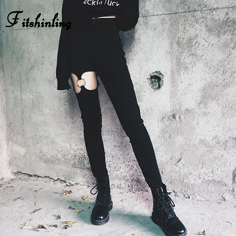 Fitshinling Pentagram Gothic Pencil Pants Women Clothing 2020 Cut Out Black Trouser Harajuku High Waist Female Pant Harajuku