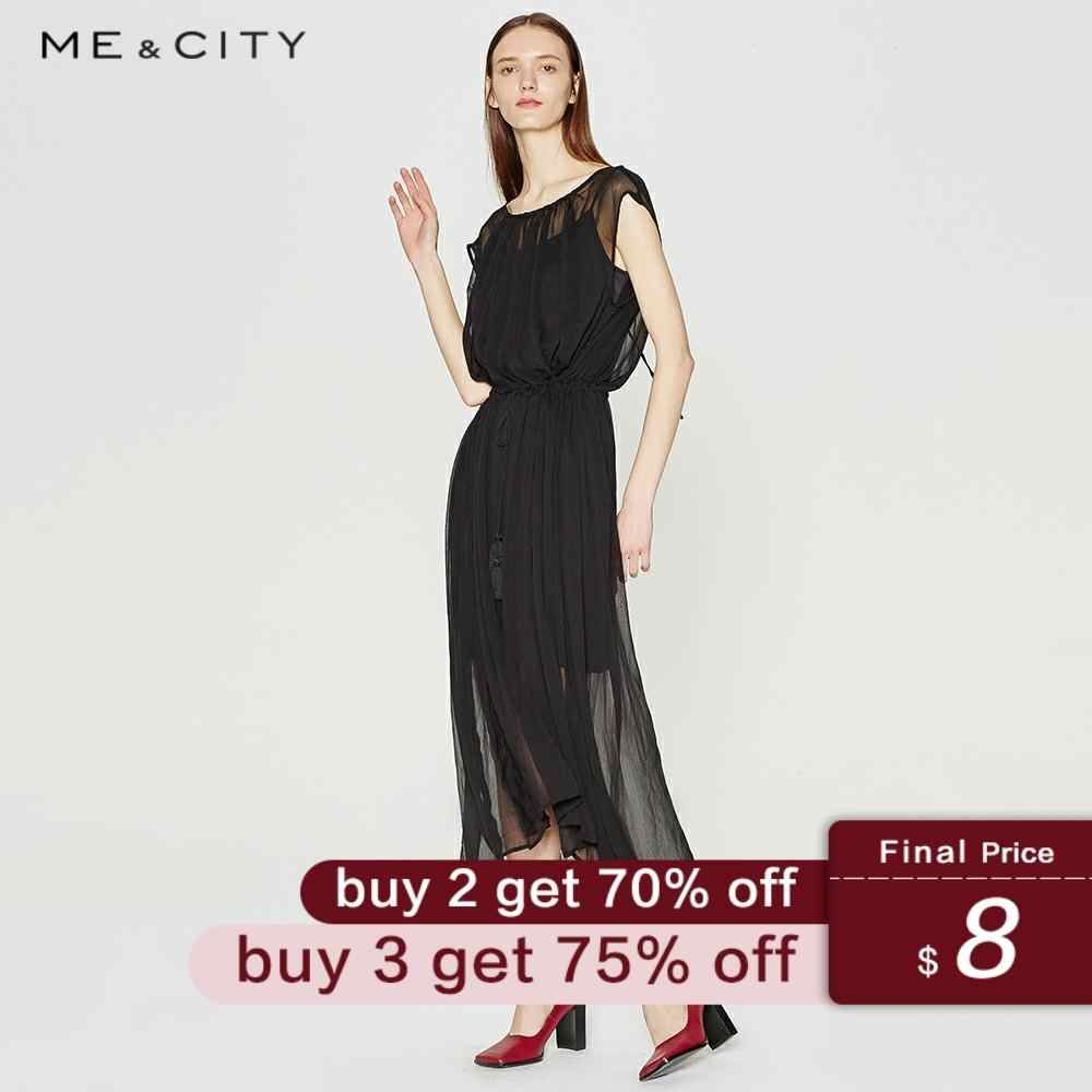 Me&City New Elegant O-neck Summer Chiffon Sheer Midi Dress women Office sleeveless dresses Elegant body