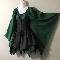 Women Dress Steam Punk Vintage Long Sleeve Medieval Cosplay Party Wear Dress