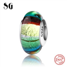 SG silver 925 classic rainbow sparkling Murano glass beads fit authentic pandora charm bracelet jewelry accessory supply gifts