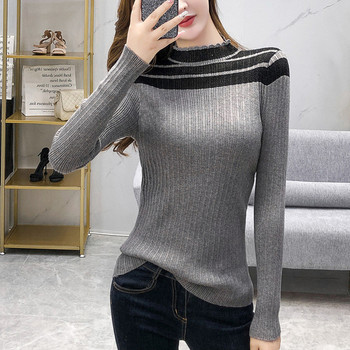 2020 autumn and winter new mesh stitching long-sleeved sweater women's slim pullover sexy half high neck bottoming sweater 2019 autumn new european and american women s personality stitching ruffled long sleeved round neck slim bag hip dress