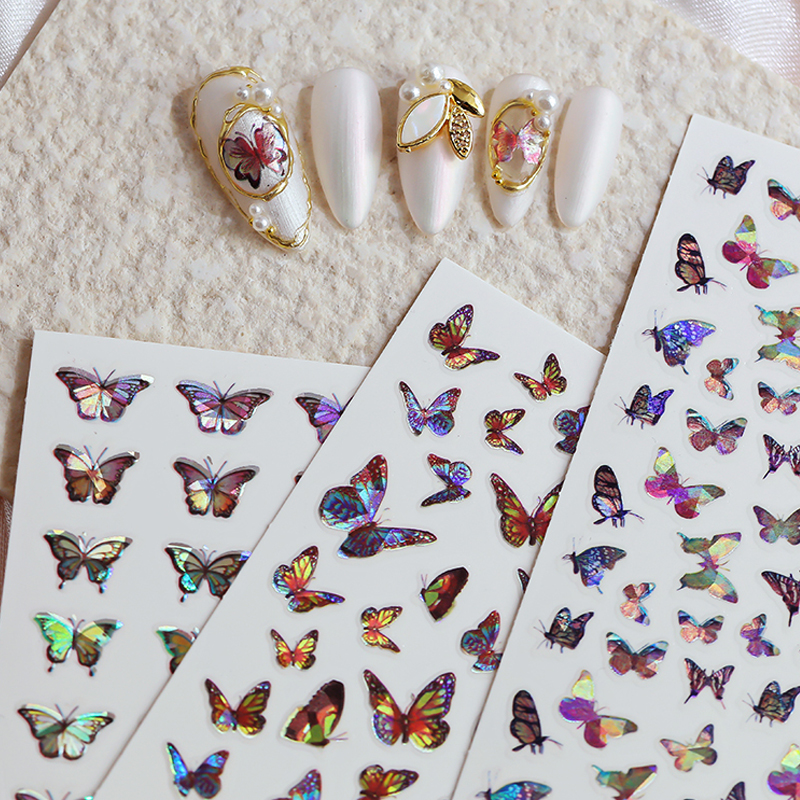 3D Laser Holographic Butterfly Designs Nail Sticker Sparkly  DIY Decal for Manicure Nail decals Art Watermark Manicure Decor|Stickers & Decals|   - AliExpress