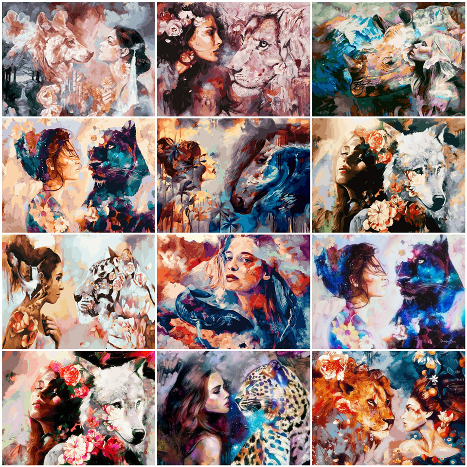 AZQSD DIY Unframe Oil Painting By Numbers Animal Colorful Paint Lion Girl Unique Gift Picture For Living Room Home Decoration