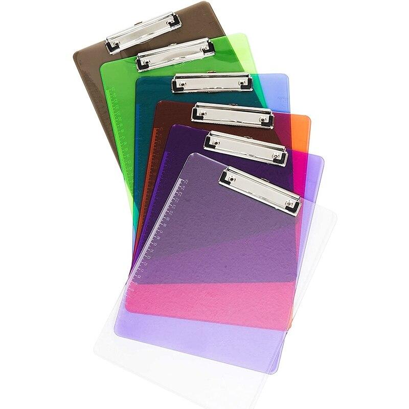 10 Pieces A4 Random Color Transparent Color Plastic Low-Profile Clip Suitable for Office Plastic with Scale