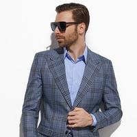 2020 Fashion Blue Grey Plaid Men Suit Custom Made Slim Fit Glen Plaid Two piece Suit Casual