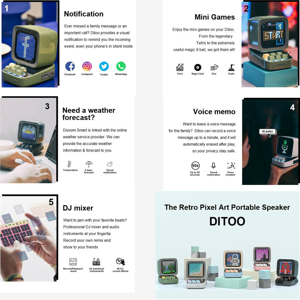 Divoom Ditoo Speaker Bluetooth Portable Mini Sound Box Alarm Clock Music Box LED Screen Night light Online Radio By APP Pixel Ar 5