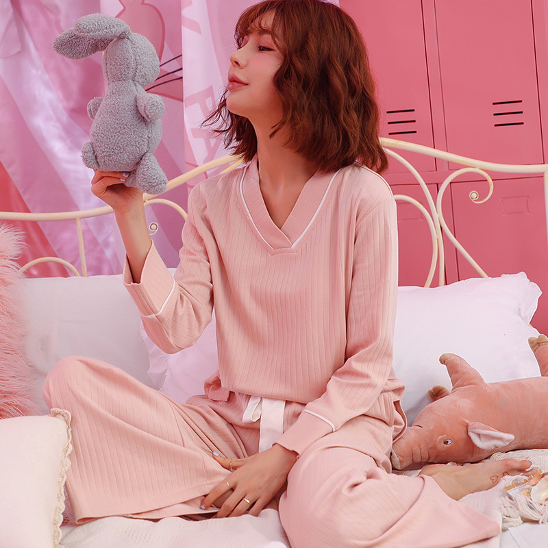 Ladies Pajamas Set 2 Pieces Cotton Home Service Short Sleeves V-Neck Pajamas For Women Long Pants Winter Female Warm Sleepwear