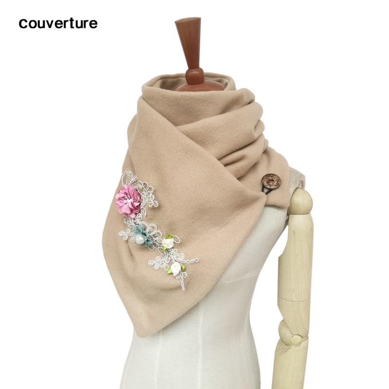 Nouveau femmes hiver longue écharpe brodé fleurs chaud cachemire foulards foulard femme châles Pashmina dame enveloppes couverture Bandana