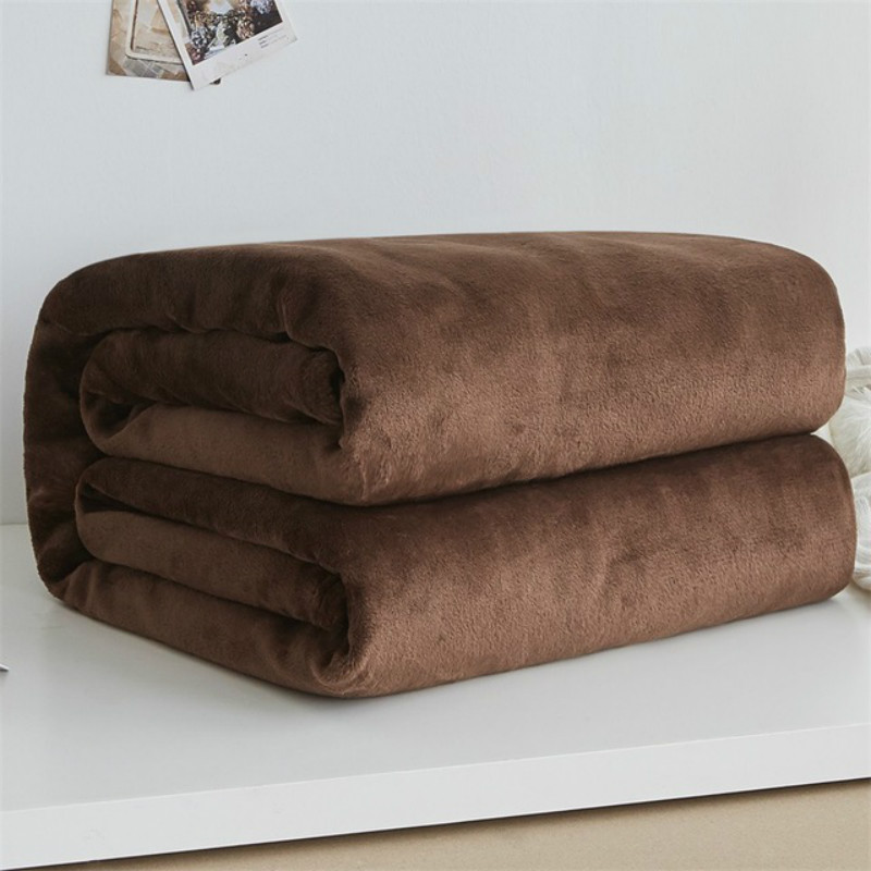 Soft Warm Coral Fleece Flannel Blankets For Beds Faux Fur Mink Throw Solid Color Sofa Cover Bedspread Winter Plaid Blankets-1