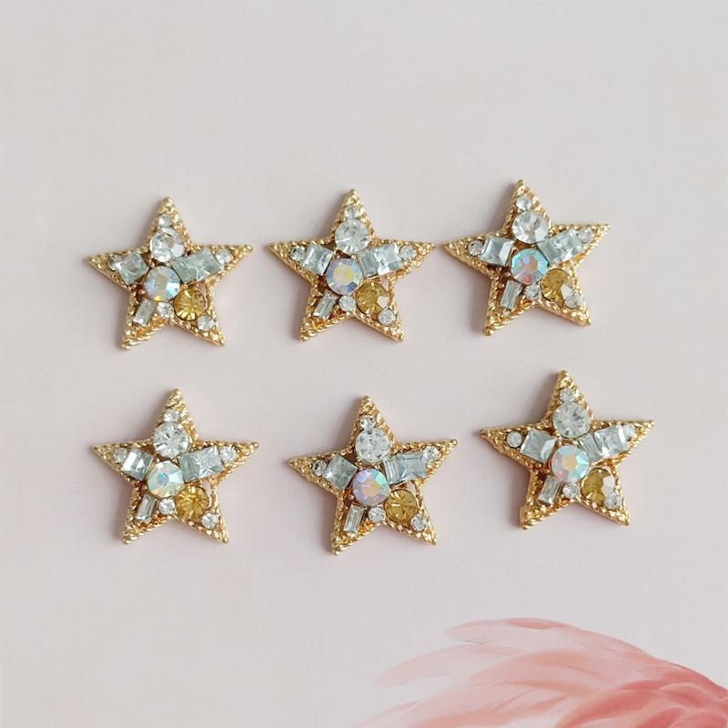 Lot 4~10pcs Pentagram Artificial Diamonds Pendant Jewelry Making DIY Charms