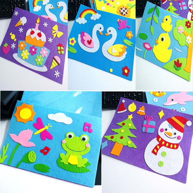 DIY Sticker Toys Non-Woven Felt Collage Cute Decoration Stickers 1 Set Children DIY Cartoon  Educational Gifts Swan Frog Cake