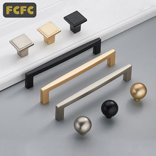 FCFC Brushed Gold Cabinet Door Handles Solid Brass Pulls Knobs Kitchen Cupboard Pulls Drawer Knobs Furniture Handles Hardware