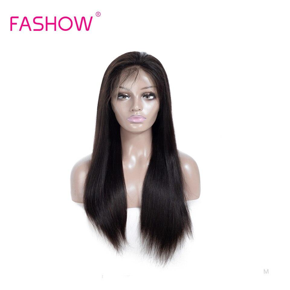 Fashow-perruque Swiss Frontal Wig, cheveux naturels brésiliens Remy lisses, naissance des cheveux pre-plucked avec Baby Hair, 13x4, 150% de densité