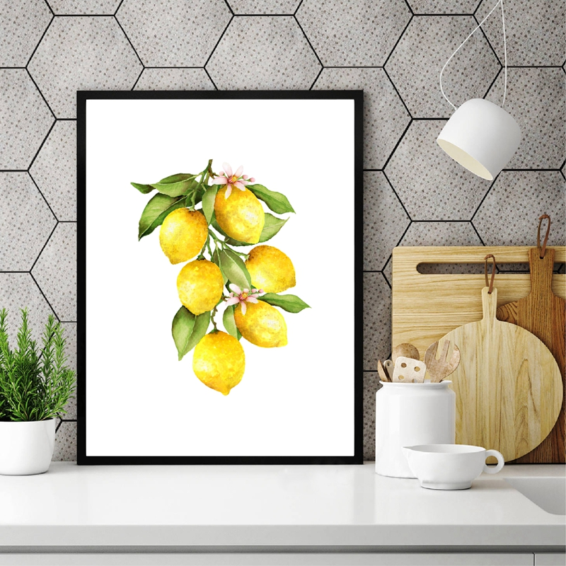 Lemon Watercolor Prints Kitchen Wall Decor