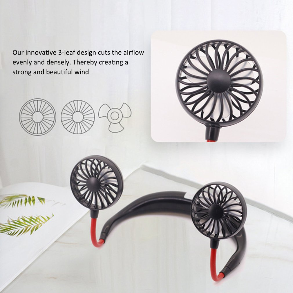 Mini USB Portable Fan Neck Fan Neckband With Rechargeable Battery Desk Fans 180 Degree Adjustable Sport Air Cooler Conditioner