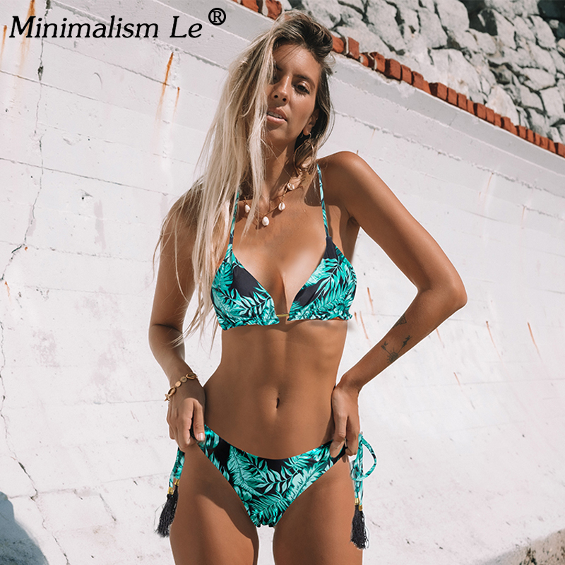 Floral Print Bikini Set Women Sexy Striped Patchwork Swimsuit Ruffle Brazilian Swimwear Bathing Suit Bandage Bikinis Beachwear