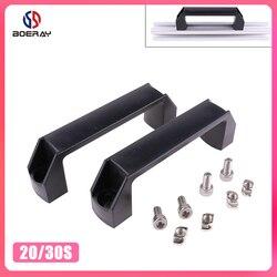 2 sztuk z tworzywa sztucznego Nylon T czarny klamka do listwa wytłaczana aluminiowa 2020/3030/4040/4545 serii z otworem 6mm/8mm/10mm w Klamki do drzwi od Majsterkowanie na