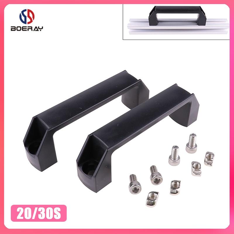 2pcs Plastic Nylon T Slot Black Door Handle For Aluminum Extrusion Profile 2020/3030/4040/4545 Series With Slot 6mm/8mm/10mm