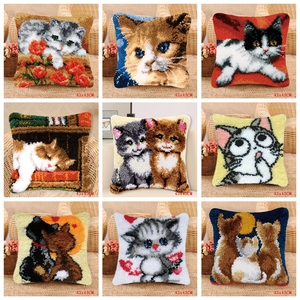 Image 1 - Smyrna Latch Hook Pillow Cute Cat Carpet Embroidery Do It Yourself Carpet Cushion Button Package Latch Hook Rug Kits knoopkussen