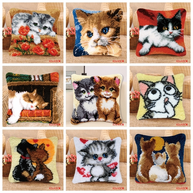 Smyrna Latch Hook Pillow Cute Cat Carpet Embroidery Do It Yourself Carpet Cushion Button Package Latch Hook Rug Kits knoopkussen