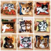 Smyrnaラッチフック枕かわいい猫カーペット刺繍日曜大工カーペットクッションボタンパッケージラッチフック敷物キットknoopkussen