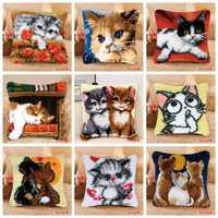 Smyrna trava gancho travesseiro gato bonito tapete bordado do-it-yourself tapete almofada botão pacote trava gancho tapete kits knoopkussen
