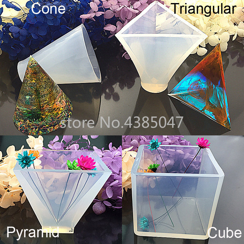 1PC Cube/Pyramid/Cone/Triangular UV Resin Mold Liquid Silicone Molds For Making Jewelry Handcraft Pendant Tools
