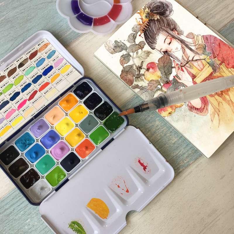 Rubens Handmade 24 Colors Watercolor Paint Set 0.5/1ML Professional Water Color Paints Mini Rron Box Aquarela Art Supplies