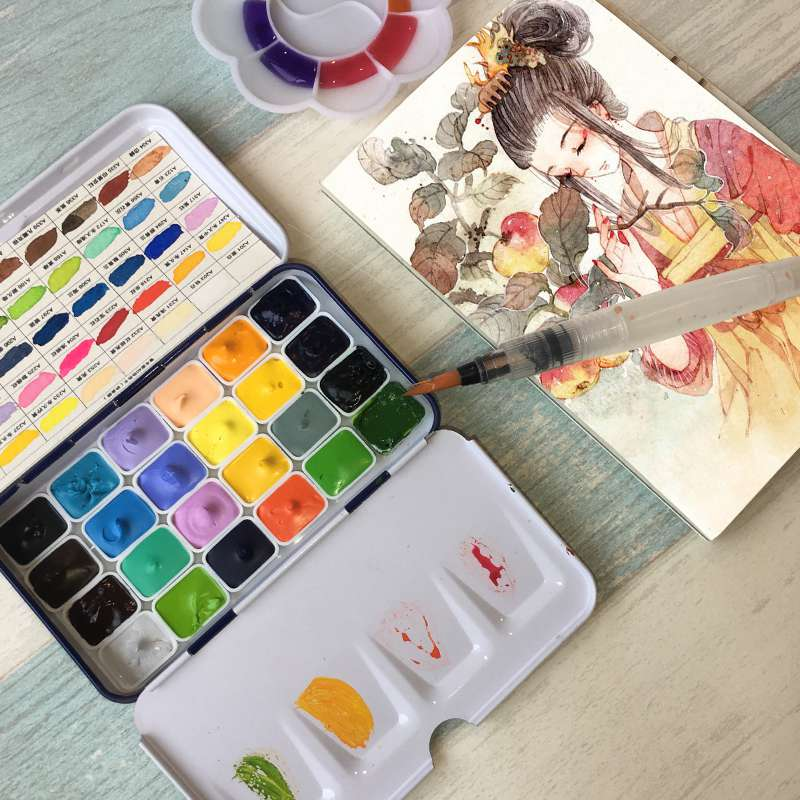 Rubens fait à la main 24 couleurs aquarelle ensemble de peinture 0.5/1ML professionnel aquarelle peintures Mini Rron boîte Aquarela Art fournitures
