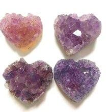 2-3cm w kształcie serca naturalny kryształ ametyst kwarcowy Drusy Geode klastra kamień leczniczy Ornament dekoracyjny fioletowy Feng Shui kamień
