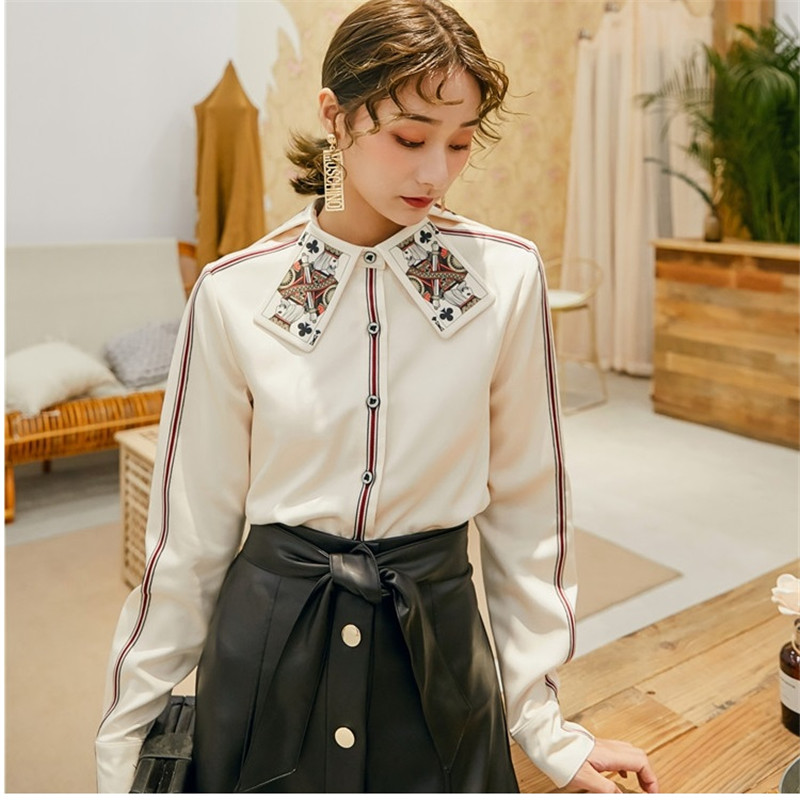 2019 Autumn Designer Runway Women Tops Grace Poker Print Collar Shirts Button Up Long Sleeve Femme Clothing Women Office Blouse