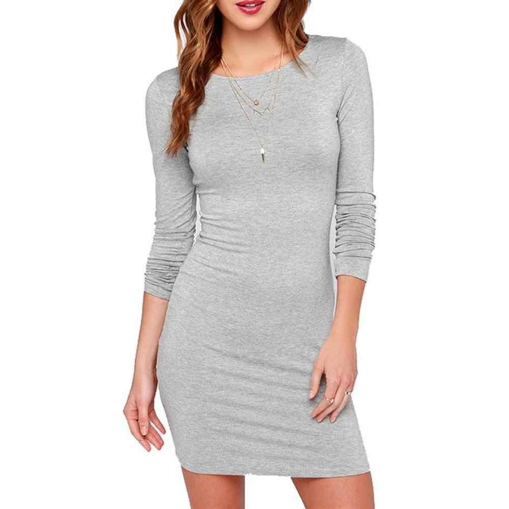 2019 осенние модные женские тонкие платья с длинным рукавом, Однотонный женский, с круглым вырезом, для похудения, сексуальное платье