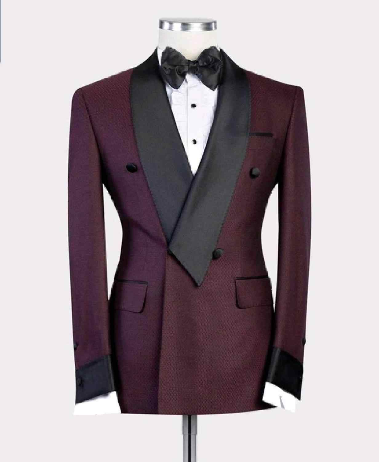 2020 New Burgundy Red With Black Lapel Men's Slim Fit Formal Suits Custom Made 2 Pieces Wedding Tuxedos Suits Jacket Pants